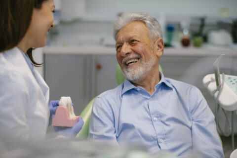 Older man at the dentist