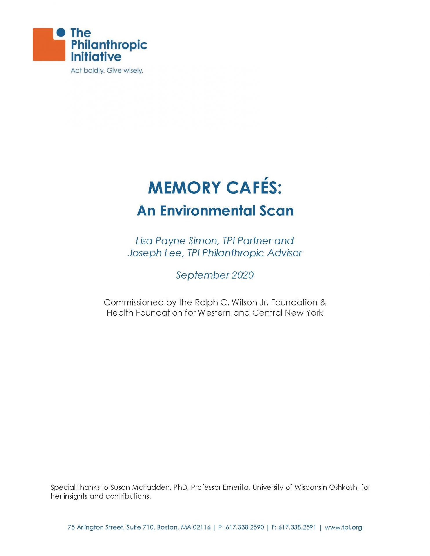 Memory Cafe Environmental Scan_Final Cover